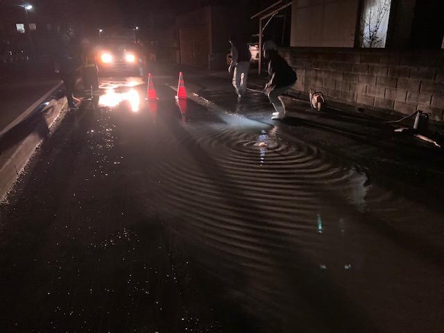 待機当番の日に水道管が破裂しました→夜間緊急工事